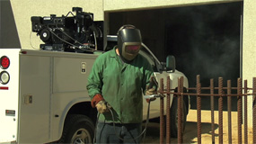 Using the Mi-T-M Air Compressor Generator Welder Combo.
