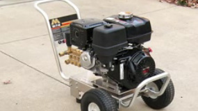 Starting a gas pressure washer.